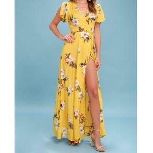 Lulus Heart of Marigold Tropical Wrap Maxi Dress